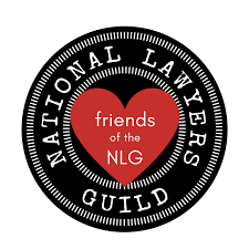 variation on National Lawyers Guild logo containing text that reads, friends of the NLG
