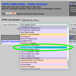 How to find and browse recent Lawyers Guild Radio episodes on KPFK Public Archives